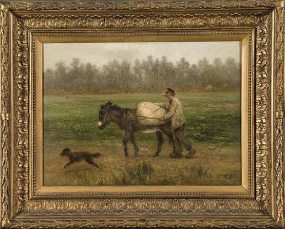vieux paysan et son âne by xavier de cock
