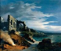contrebandiers près d'une plage surmontée d'une ruine d'église by charles caius renoux