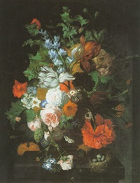 still life of flowers on a stone pedestal with a bird's nest and eggs by coenraet (conrad) roepel