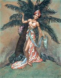 island woman in front of palm tree by margaret brundage