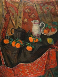 still life and oranges by leo kahn