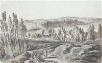 trois figures féminines dans un paysage près de villers-cotterêts by pierre lelu