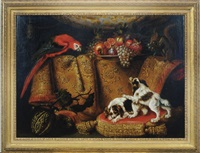 still life of dogs, parrot and fruit by a draped table by francesco fieravino (il maltese)