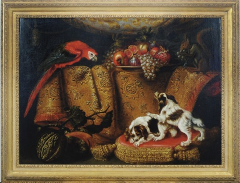 still life of dogs parrot and fruit by a draped table by francesco fieravino il maltese