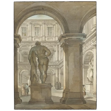 view of the farnese hercules in the portico of the courtyard of the farnese palace rome by giacomo quarenghi