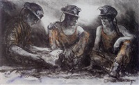 three miners resting by valerie ganz