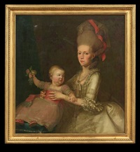mother and child by french school