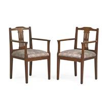 inlaid armchairs (pair) by jacob pieter van den bosch