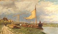 loading the ship near a drawbridge by hermanus koekkoek the younger