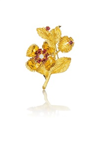 gold, ruby, and diamond brooch by tiffany & company