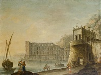 a view of the temple of diana, baia, with grand tourists in the foreground (+ a view of posillipo in the bay of naples looking north...; pair) by carlo bonavia