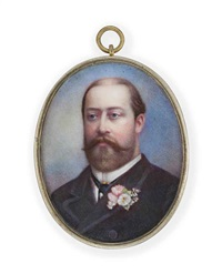 king edward vii, when prince of wales, in black coat and waistcoat, cravat with pearl stick-pin, pink and white flowers in his buttonhole by john haslem