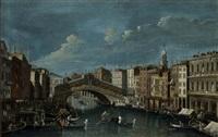 veduta del canal grande presso il ponte di rialto a venezia (view of the grand canal with rialto bridge in venice) by francesco tironi