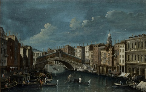 veduta del canal grande presso il ponte di rialto a venezia view of the grand canal with rialto bridge in venice by francesco tironi