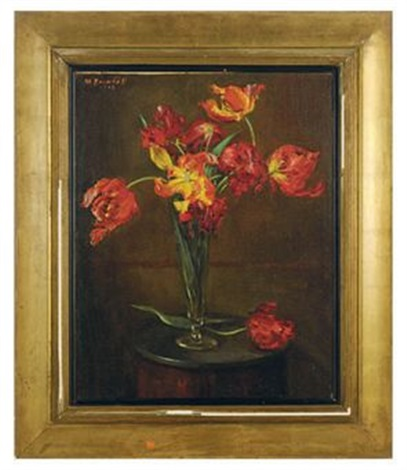 still life of red tulips in a small vase by matilda auchinclos brownell