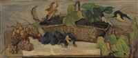 still life with grapes and basket by henry varnum poor