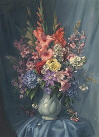 mixed flowers in a white jug by ernest william buckmaster