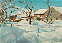 paysage enneigé by alfred swieykowski