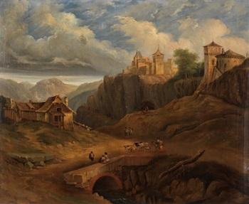 pueblo en las montañas con personajes by genaro perez villaamil