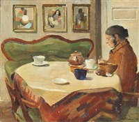 interior with a woman at a coffee table by carl fischer