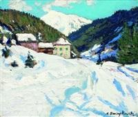 hameau dans un paysage de montagne enneigé by alfred swieykowski