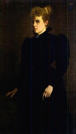 portrait dune dame en robe noire by simone van dormael