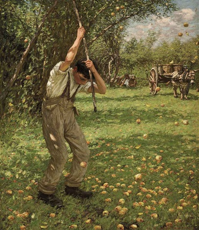 shaking down cider apples by henry herbert la thangue