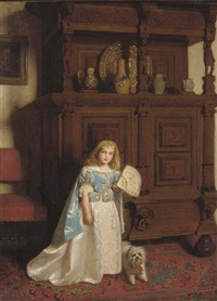 portrait of a girl, holding a fan, a dog by her side by william baxter collier fyfe
