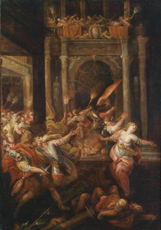 szene aus dem trojanischen krieg der tod des königs priamos by andrea celesti