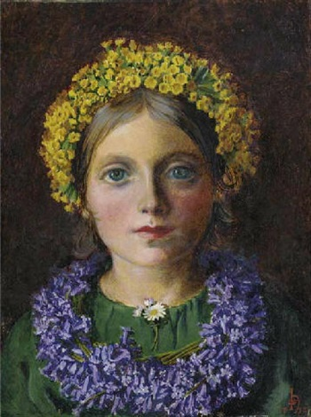 portrait of a girl adorned with cowslips bluebells and a daisy by michael frederick halliday