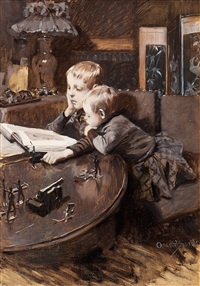 children reading by gustaf-oskar björk