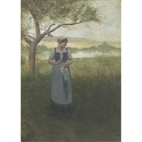 picking flowers on a country lane by charles alexander smith