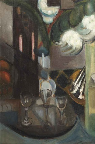 a still life with a carafe and glasses by henri le fauconnier
