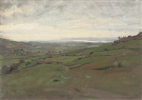 view over a grazing landscape towards an estuary by anton van anrooy
