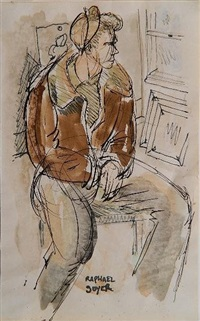seated young man by raphael soyer