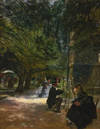 on the terrace at haddon hall by douglas volk