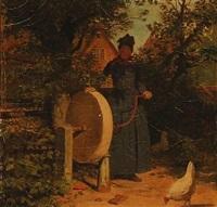fanøkone i sin have by johann julius exner