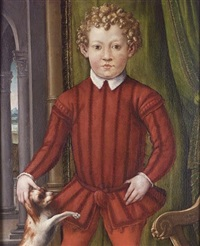 portrait of a young boy in red costume with a dog at his side, before a green curtain by agnolo bronzino