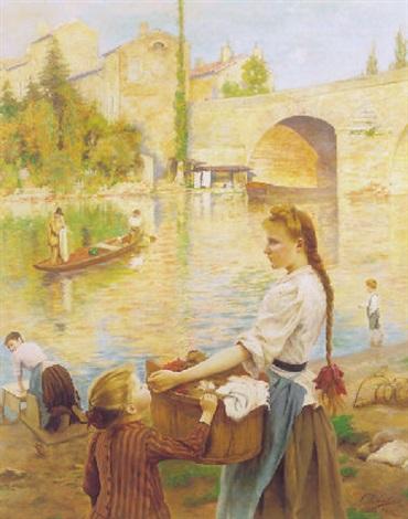 les lavandiéres à pont sur yonne by andré chabellard