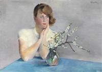 frühlingsblüten - londa am tisch mit schlehdorn by conrad felixmüller