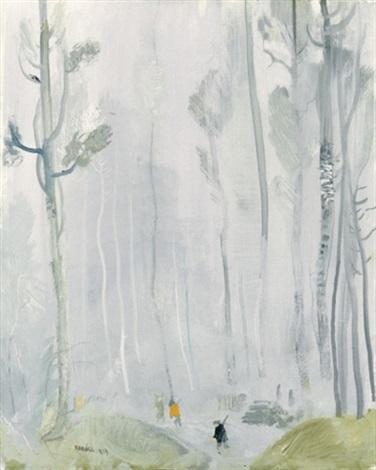 vadászok a téli erdoben (hunters in the winter forest) by endre vadász
