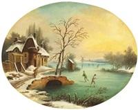 schlittschuhläufer in winterlicher landschaft by hendricus spilman