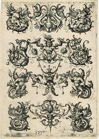 ornament mit vier horizontalen, dreiteiligen motiven by daniel hopfer