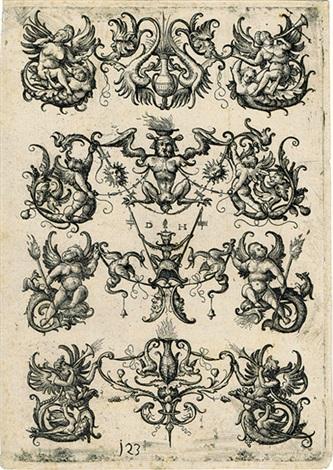 ornament mit vier horizontalen dreiteiligen motiven by daniel hopfer