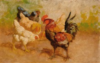 four chickens and a rooster (+ another, similar; 2 works) by william baptiste baird