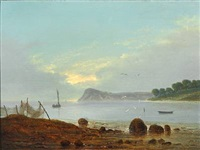 a coastal scene in the evening. in the foreground fishing net hanging out to dry by frederik michael ernst fabritius de tengnagel