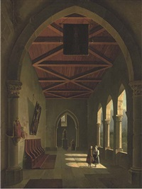 the courtyard of an italian monastery by antonio de pian