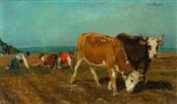 kühe und bauern auf dem feld by johann baptist hofner