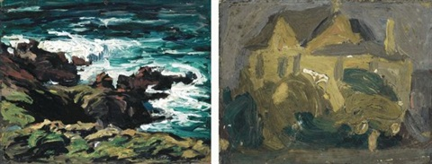 rocky shore monhegan and house monhegan by robert henri