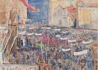 manifestation du front populaire sur le vieux-port by louis audibert